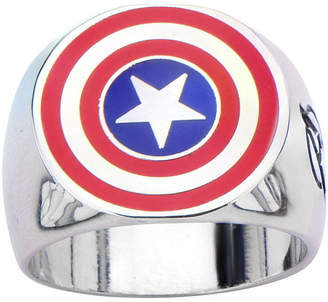 JCPenney FINE JEWELRY Marvel Captain America Shield Mens Stainless Steel Ring
