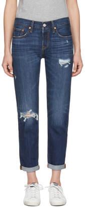 Levi's Levis Blue 501 Taper Distressed Jeans