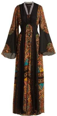 Etro Zoist Printed Silk Chiffon Maxi Dress - Womens - Black Multi