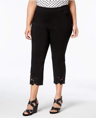 INC International Concepts I.n.c. Plus Size Lace-Hem Capri Pants, Created for Macy's