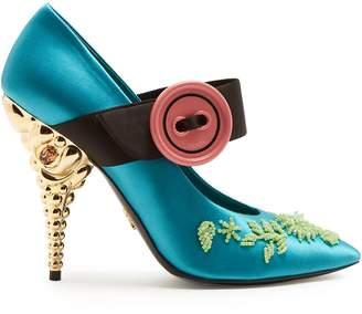 Prada Bead-embellished satin pumps
