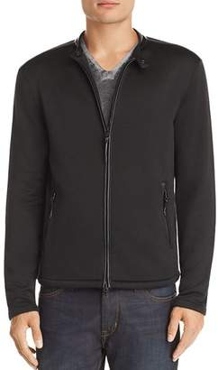 John Varvatos Leather-Trimmed French Terry Jacket