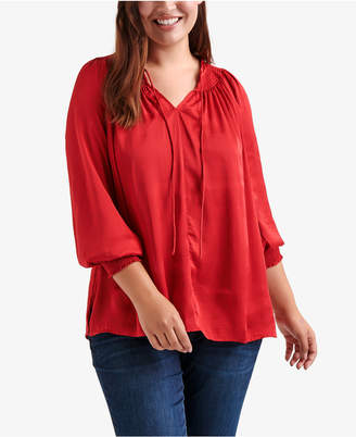 Lucky Brand Plus Size Satin Peasant Top