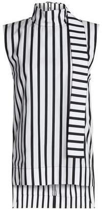 SOLACE London Tie-Neck Striped Cotton-Poplin Top