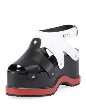 Proenza Schouler Colorblock Leather Platform Sandal, Nero $950 thestylecure.com