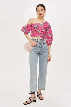 Topshop Floral Puff Off-Shoulder Top