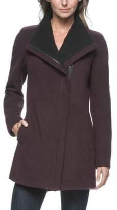 Andrew Marc Women's Asymmetrical Zip Wing Collar Long Coat