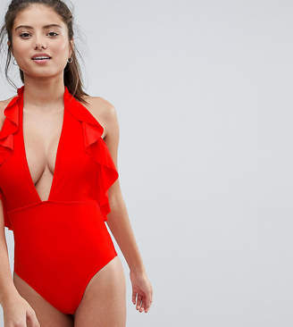 Wolfwhistle Wolf & Whistle Ruffle Halter Neck Swimsuit B-F Cup