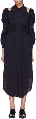 Akiko Aoki Puff sleeve smocked cold shoulder shirt dress