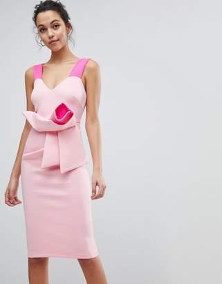 Asos Design Fluro Two Tone Pink Origami Bow Midi Bodycon Dress