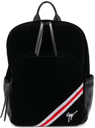Giuseppe Zanotti Design tri-stripe velvet backpack