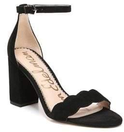 Sam Edelman Odila Scalloped Suede Ankle-Strap Sandals