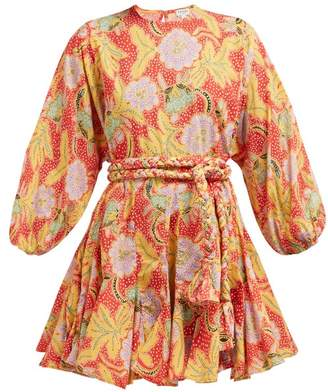 Rhode Resort Ella Floral Print Cotton Mini Dress - Womens - Red Multi