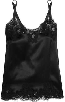 Lace-trimmed Stretch-silk Satin Camisole - Black