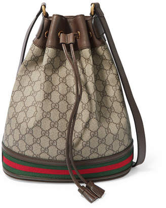 Gucci Ophidia Textured Leather-trimmed Printed Coated-canvas Bucket Bag - Beige