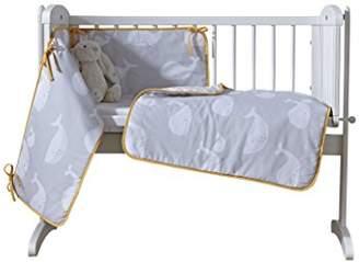 Clair De Lune Grey/Mustard Yellow Whales Crib/Cradle Quilt & Bumper Bedding Set