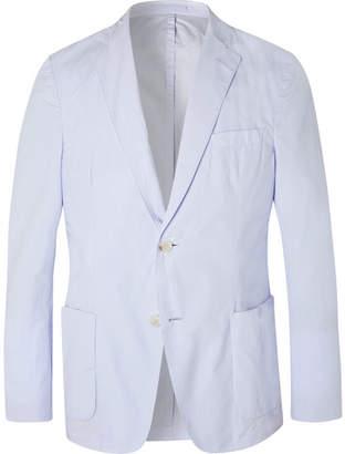 Officine Generale Sky-Blue Unstructured Cotton-Poplin Blazer
