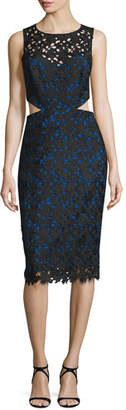 Nicole Miller Venice Sleeveless Solid Lace Cutout Dress, Black/Cobalt