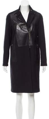 3.1 Phillip Lim Asymmetrical Leather-Trimmed Coat