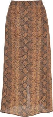 Rokh Snake-Print Silk-Chiffon Midi Skirt