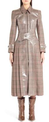 Fendi Checked Glazed Wool Trench Coat
