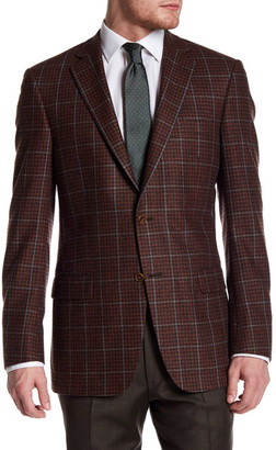 Hart Schaffner Marx Rust Plaid Two Button Notch Lapel Wool Blend Sport Coat $595 thestylecure.com
