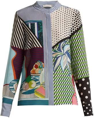 Mary Katrantzou Clara printed silk-georgette blouse