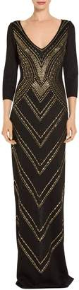 St. John Layered Pointelle Jacquard Knit Gown