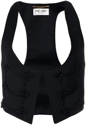 Saint Laurent embroidered detail vest