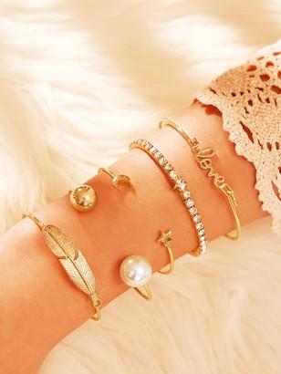 Shein Leaf & Moon Decor Bangle Bracelet 5pcs