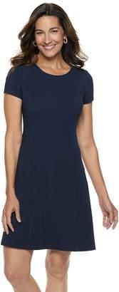 Dana Buchman Women's Travel Anywhere Solid Fit & Flare Dress