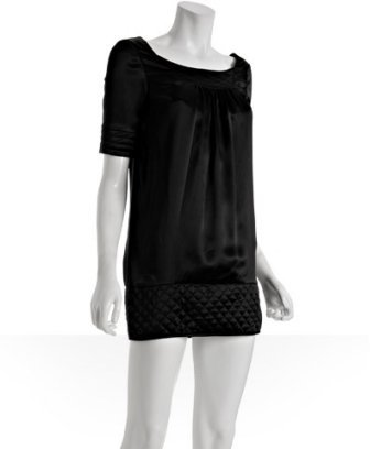 Cynthia Rowley black silk quilted trim dress