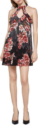 BCBGeneration High-Neck Floral A-Line Dress