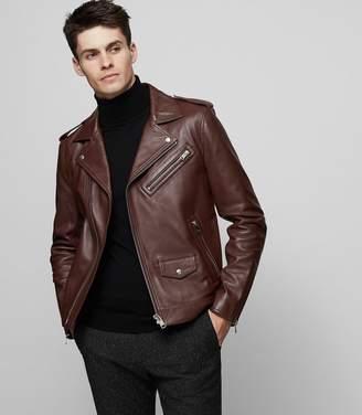 Reiss Hendrix - Leather Biker Jacket in Chestnut