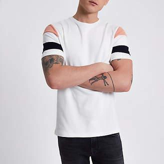 River Island Cream short stripe sleeve slim fit T-shirt