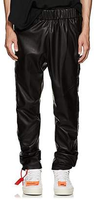 Cardoni Men's Star-Detailed Leather Track Pants - Black Size L