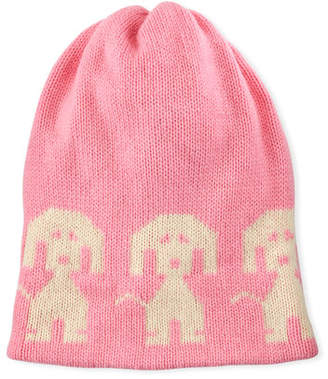 Moncler Wool-Cashmere Dog-Intarsia Beanie Hat