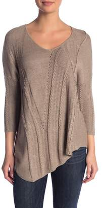 Democracy Mixed Knit Asymmetrical Sweater