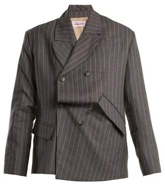 Charles Jeffrey Loverboy - Distressed Double Breasted Pinstripe Wool Blazer - Womens - Grey