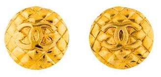 Chanel Quilted Logo Clip-On Earrings