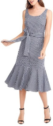 Women's J.crew Gingham Ruffle Hem Midi Dress $128 thestylecure.com