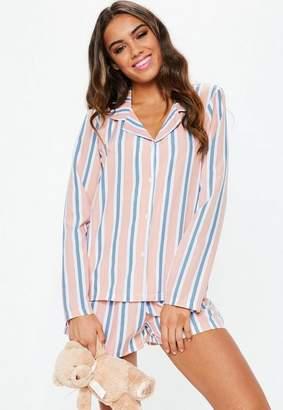 Missguided Pink Stripe Woven Long Sleeve Short Pyjama Set