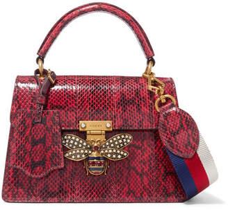 Gucci Queen Margaret Embellished Elaphe Shoulder Bag - Red
