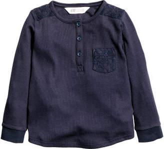 H&M Long-sleeved Jersey Top - Blue