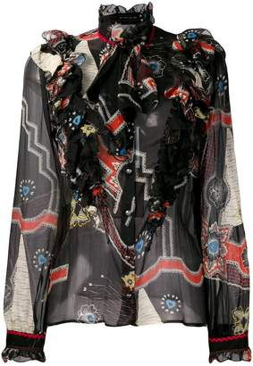 Etro printed frilled blouse
