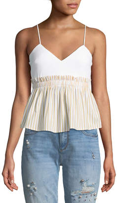 Line And Dot Ryline Fit-&-Flare Striped Camisole