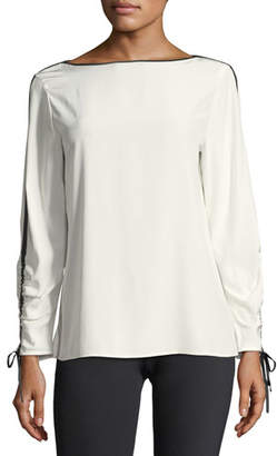 Lafayette 148 New York Georgina Blouse w/Contrast Tipping, Plus Size