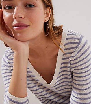 LOFT Striped V-Neck Sweater
