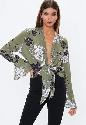 Missguided Khaki Knot Front Flare Sleeve Blouse