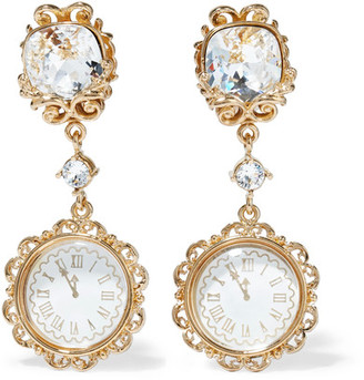 Dolce & Gabbana - Gold-tone Crystal Clip Earrings - one size $945 thestylecure.com